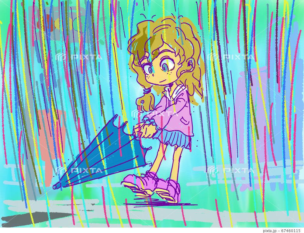 雨に濡れる子